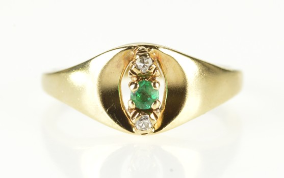 10K Natural Emerald Diamond Curved Statement Yellow Gold Ring, Size 6.5