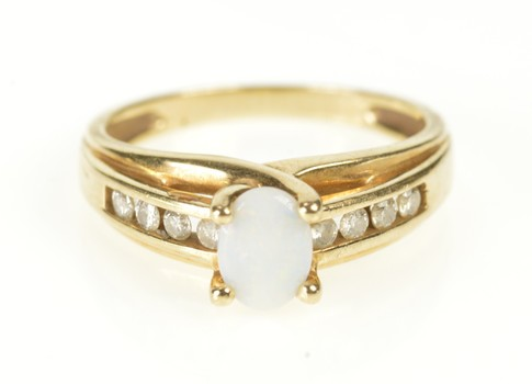 10K Natural Opal Diamond Accent Engagement Yellow Gold Ring, Size 7