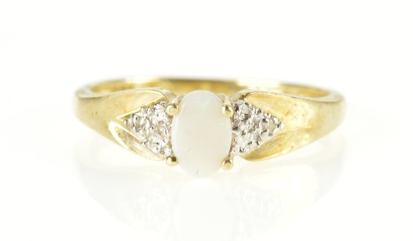 10K Natural Opal Diamond Accent Statement Yellow Gold Ring, Size 6.75