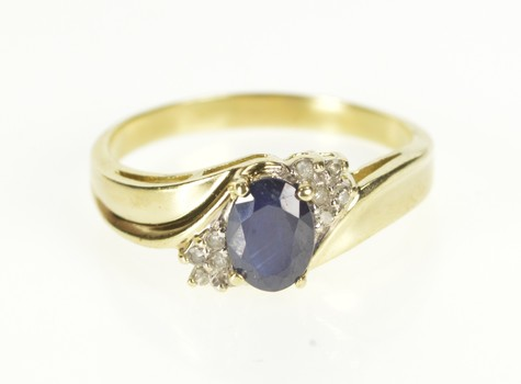 10K Natural Sapphire Diamond Cluster Engagement Yellow Gold Ring, Size 8.75