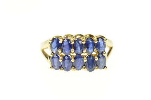 10K Natural Sapphire Tiered Statement Band Yellow Gold Ring, Size 9.75