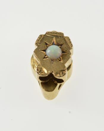 10K Opal Burst Inset Slide Bracelet Scalloped Yellow Gold Charm/Pendant