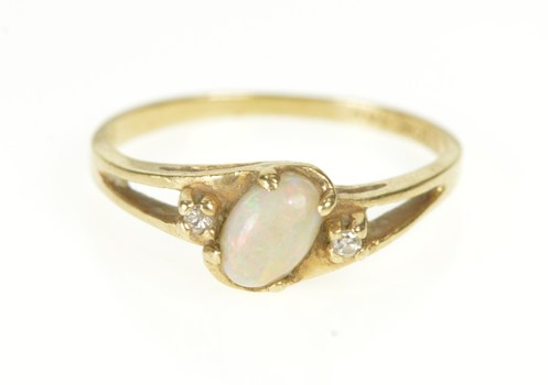 10K Opal Diamond Accent Bypass October Birthstone Yellow Gold Ring, Size 5.25