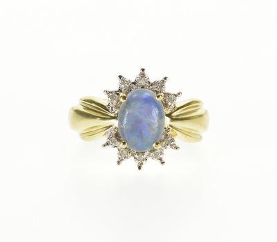 10K Opal* Oval Diamond Starburst Halo Scalloped Yellow Gold Ring, Size 4.75