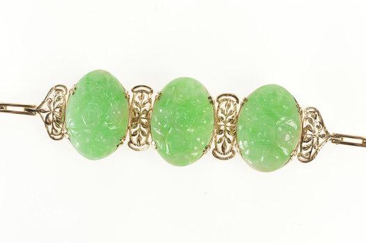 """10K Ornate Carved Oval Floral Jade Statement Yellow Gold Bracelet 6.5"""""""