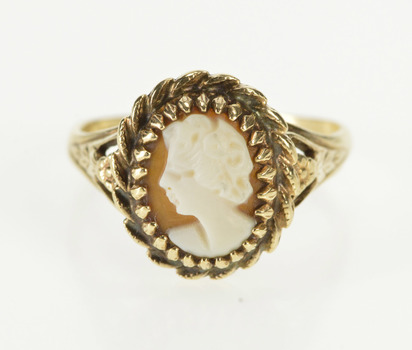 10K Ornate Carved Shell Cameo Twist Trim Yellow Gold Ring, Size 5.5