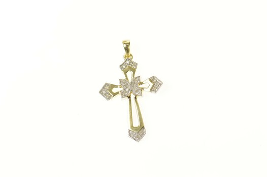 10K Ornate Diamond Inset Cross Christian Faith Yellow Gold Pendant