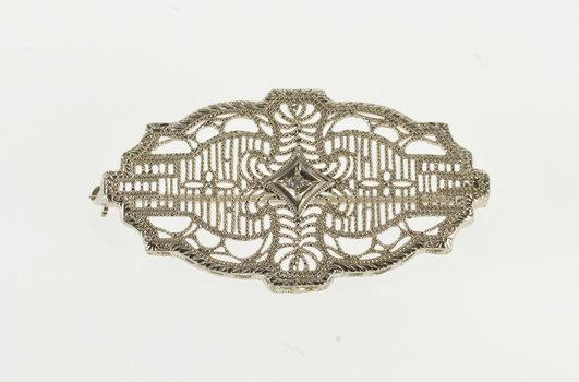 10K Ornate Diamond Inset Decorative Filigree White Gold Pin/Brooch