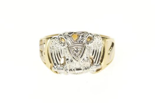 10K Ornate Diamond Men's Masonic Eagle Yellow Gold Ring, Size 11.5