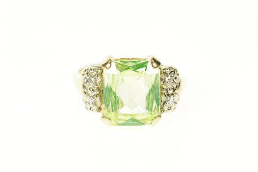 10K Ornate Lime Quartz Diamond Retro Cocktail Yellow Gold Ring, Size 8