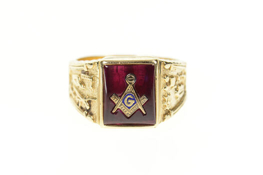 10K Ornate Men's Masonic Emblem Symbol Yellow Gold Ring, Size 10