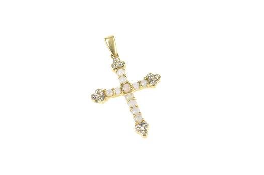 10K Ornate Natural Opal Diamond Cross Christian Yellow Gold Pendant