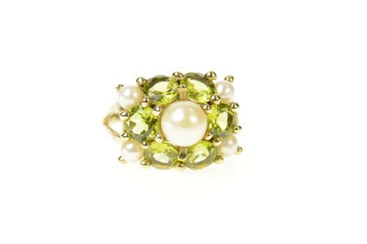 10K Ornate Pearl Peridot Cluster Statement Yellow Gold Ring, Size 7.25