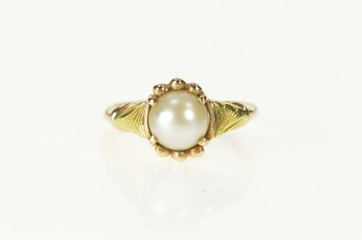 10K Ornate Retro Pearl Inset Statement Yellow Gold Ring, Size 5