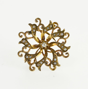 10K Ornate Seed Pearl Encrusted Swirl Spiral Yellow Gold Pin/Brooch