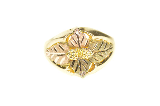 10K Ornate Two Tone Black Hills Leaf Statement Yellow Gold Ring, Size 10
