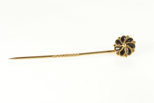 10K Ornate Victorian Black Onyx Swirl Flower Yellow Gold Stick Pin