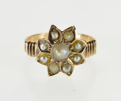 10K Ornate Victorian Pearl Inset Snowflake Floral Yellow Gold Ring, Size 5.75
