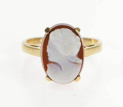 10K Oval Agate Carved Cameo Retro Fashion Yellow Gold Ring, Size 6.75