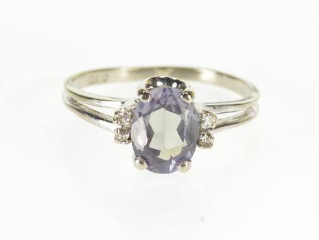 10K Oval Alexandrite* Diamond Accented Split Band White Gold Ring, Size 7.75