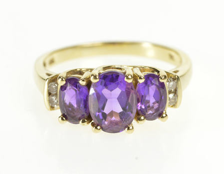 10K Oval Amethyst Diamond Accent Engagement Yellow Gold Ring, Size 7