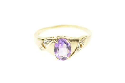10K Oval Amethyst Diamond Accent Heart Yellow Gold Ring, Size 9.5