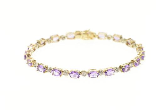 "10K Oval Amethyst Diamond Accent Tennis Yellow Gold Bracelet 7"""