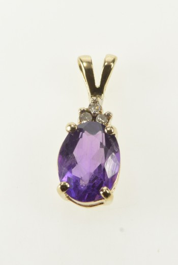 10K Oval Amethyst Diamond Cluster Accent Yellow Gold Pendant