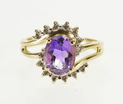 10K Oval Amethyst Wavy Diamond Unravel Halo Wavy Yellow Gold Ring, Size 5.75