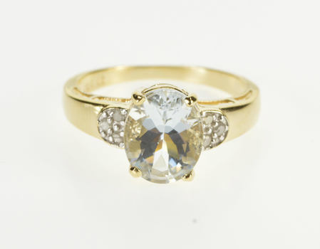 10K Oval Aquamarine Diamond Cluster Accented Yellow Gold Ring, Size 7.25