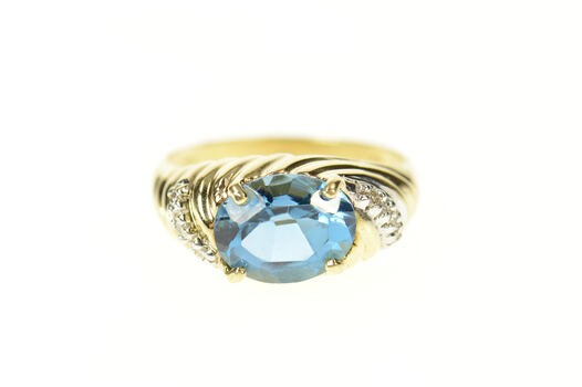 10K Oval Blue Topaz Diamond Twist Statement Yellow Gold Ring, Size 7
