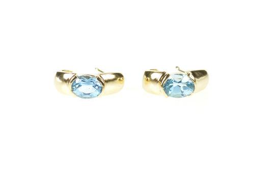 10K Oval Blue Topaz Inset Semi Hoop Yellow Gold Earrings