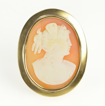 10K Oval Carved Shell Cameo Classic Statement Yellow Gold Pin/Brooch