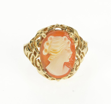 10K Oval Carved Shell Cameo Retro Filigree Yellow Gold Ring, Size 6