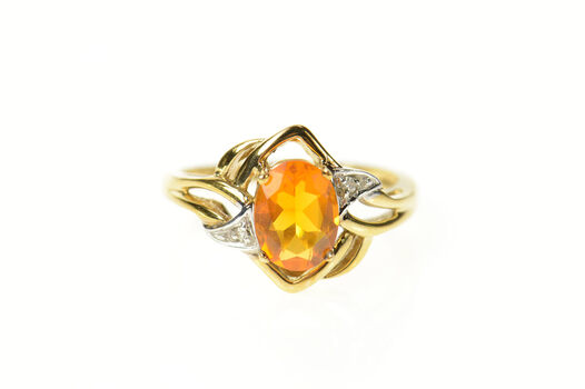 10K Oval Citrine Diamond Accent Bypass Yellow Gold Ring, Size 6