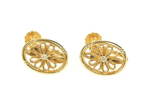 10K Oval Diamond Ornate Floral Filigree Screw Back Yellow Gold Earrings