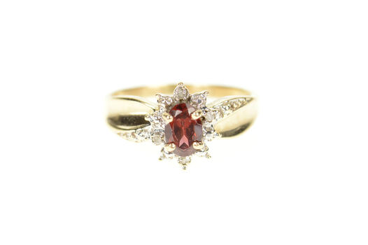 10K Oval Garnet Diamond Accent Classic Bypass Yellow Gold Ring, Size 5.25