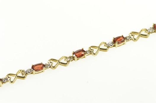 """10K Oval Garnet Diamond Accent Heart Link Tennis Yellow Gold Bracelet 7"""""""