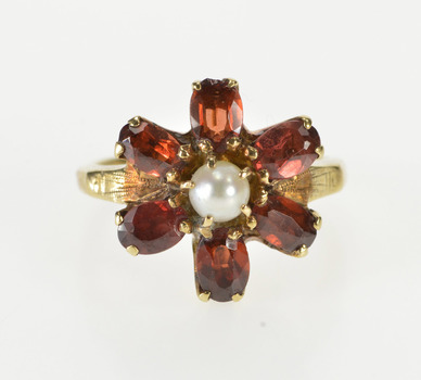 10K Oval Garnet Pearl Inset Flower Cluster Cocktail Yellow Gold Ring, Size 5