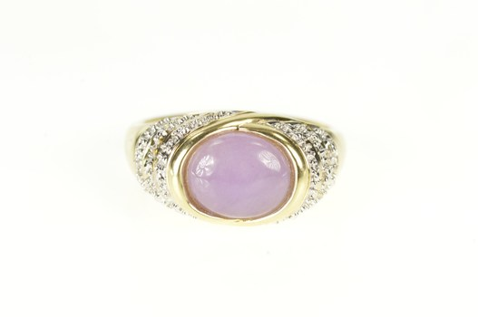 10K Oval Lilac Jade Two Tone Accent Statement Yellow Gold Ring, Size 7.25