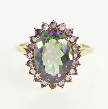 10K Oval Mystic Topaz Amethyst Halo Cocktail Yellow Gold Ring, Size 10