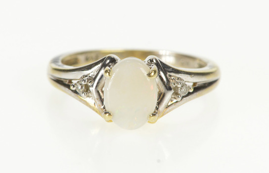 10K Oval Natural Opal Diamond Accent Engagement Yellow Gold Ring, Size 5.75