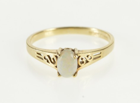 10K Oval Natural Opal October Birthstone Scroll Yellow Gold Ring, Size 6