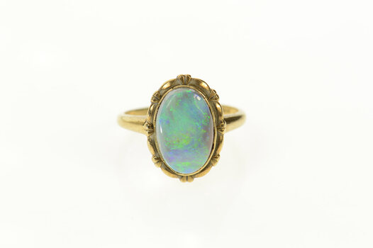 10K Oval Natural Opal Ornate Scalloped Trim Yellow Gold Ring, Size 6.25