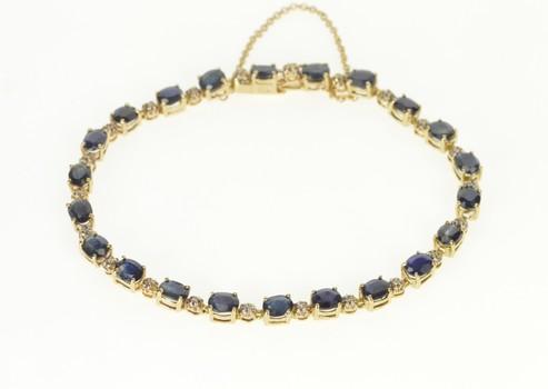"10K Oval Natural Sapphire Diamond Accent Tennis Yellow Gold Bracelet 7.5"""