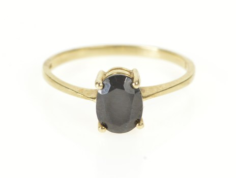 10K Oval Natural Sapphire Solitaire Engagement Yellow Gold Ring, Size 8