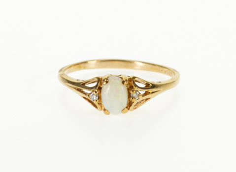 10K Oval Opal Diamond Accented Three Stone Yellow Gold Ring, Size 6