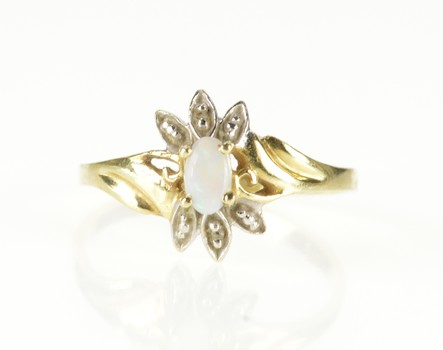 10K Oval Opal Diamond Petal Accent Bypass Yellow Gold Ring, Size 7