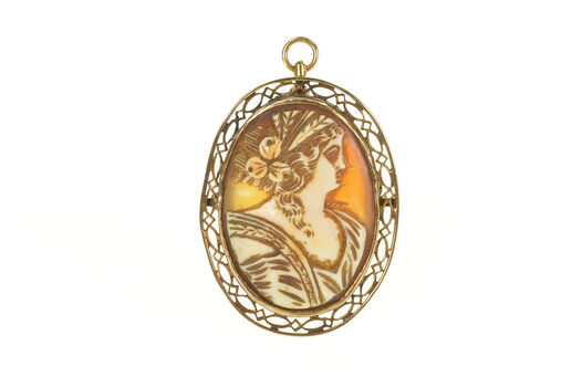 10K Oval Ornate Carved Lady Cameo Filigree Yellow Gold Pendant/Pin
