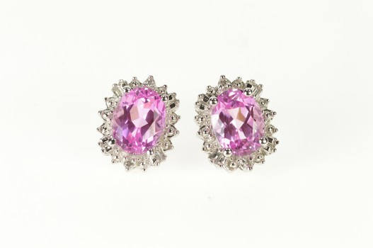 10K Oval Pink Topaz Diamond Halo Classic Stud White Gold Earrings